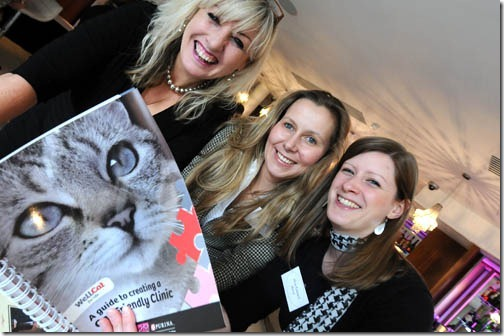 Claire Bessant looking at Wellcat  - literature for the new Cat Friendly Clinic programme