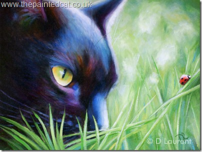 Ladybird - painted for black cat awareness day - painting by Denise Laurent