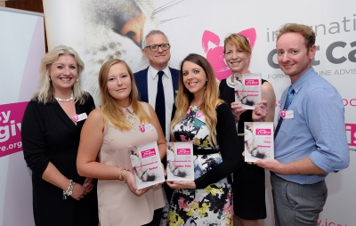 Easy to Give Award winners from left: Claire Bessant, iCatCare Chief Executive; Alison Henry, Ceva; Bradley Viner, iCatCare Vice President; Nicola Barclay, Ceva; Rachel Crowe, Norbrook; Simon Bolton, Virbac.