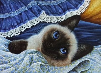 Blue and White Fabric by Irina Gramashova