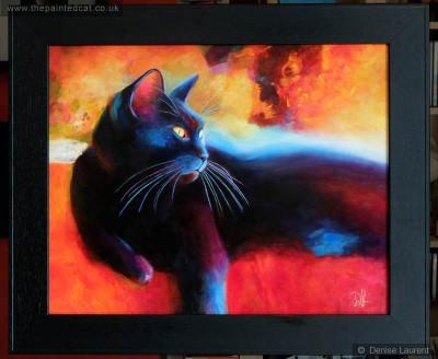 day dreamer black cat oil painting