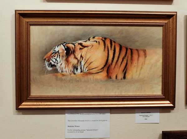 The Llewellyn Alexander prize was won this year by Madeline Winter for her beautiful painting Splendid Stripes.