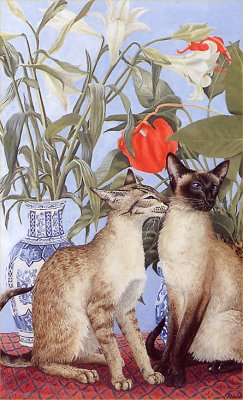 Siamese Cats and Lilies
