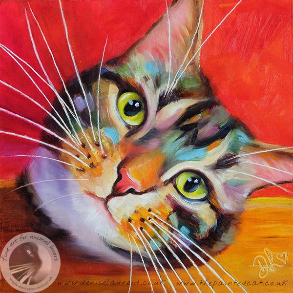 tabby cat - 8x8 oil on board - Denise Laurent