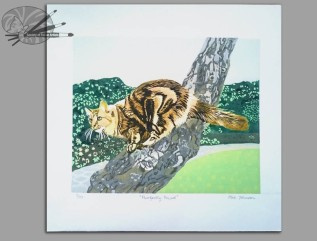 Alex Johnson Purrfectly Poised Linocut on Paper H 20.4 x W 24.3