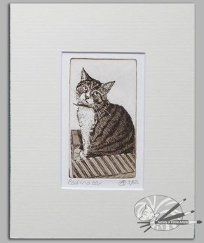 Avril_Sleeman-Cat_in_a_box-Etching_on_paper-Mounted-85