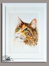 D Laurent - drama queen - 12x9 watercolour 16x12 frame 195