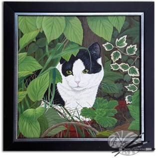 Daphne Lanham Hide and Seek, framed, acrylic on board, £260