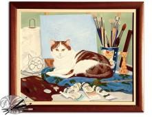 Daphne Lanham The Studio Cat framed, £520