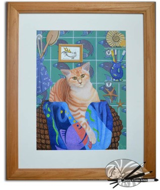 fish and chips framed - by Patricia Mooney-gouache on canvas board-£360