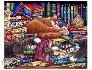 Irina Garmashova-Cawton Cats_Library Water Colored Pencil 1650