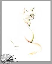 K Campbell-Elegant Cat-Pastel,Graphite & Ink on Pap-300