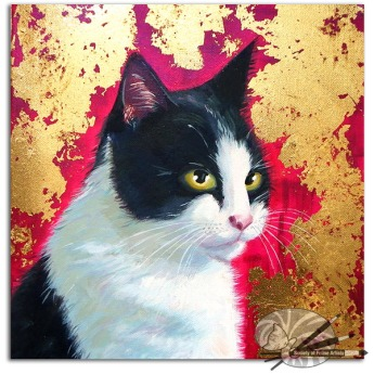 M Stubberfield-black-and-white-cat-acrylic-on-canvas-300