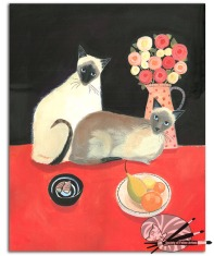 M Stubberfield-siamese-cats-acrylic-on-paper--350