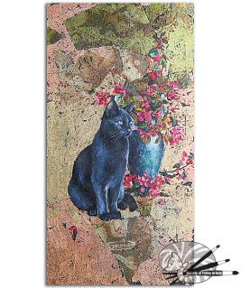 Madeline Downham-Sitting tall with blossom-oil and gold leaf on board-1000