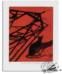 Marian Forster 'In the shadow of the greenhouse!'-Red-Reduction relief print limited to 3 £120
