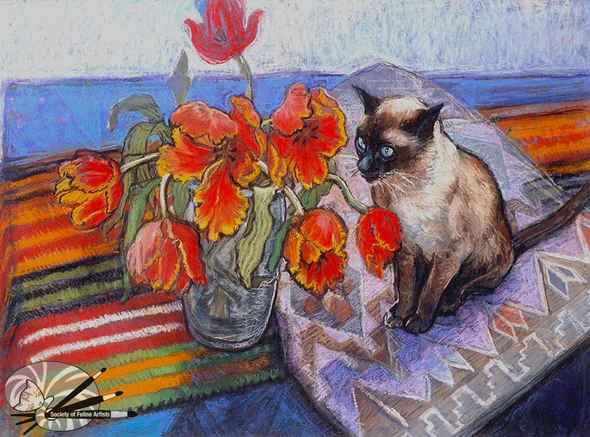 Patricia_Clements_Bob_among_the_Tulips_Pastel_on_Paper_2000_590x