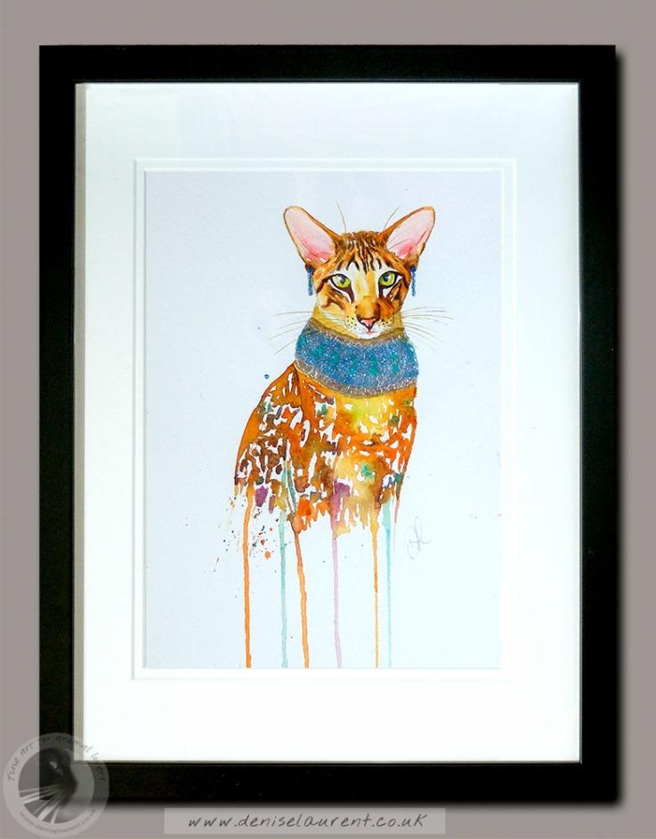 pharaoh cat - oriental watercolour 12x9 framed 195